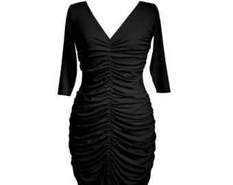 Evening dress, Black dress, Pleated dress, Bridesmaid dress, Pencil dress, Knee length dress, V neck dress, Custom dress, Plus size dress