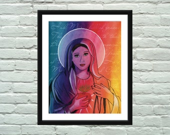 Inspirational Watercolor Hail Mary Religious Poster / Wall Art / Print