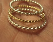 Set of 3 rings - twisted, stacking, band, argentium sterling , 14kt gold fill, 14g , 16g, mix, any size