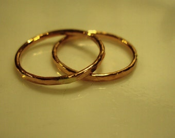 3 stacking rings -rose gold stackers, wedding bands, hammered rose gold rings