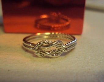 Buckle knot, sailors knot, hercules ring,, half twist, half plain, 16g thick, argentium sterling silver,