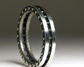 Ladies Studded Sterling Silver Band