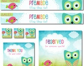 Premade Etsy Shop Set, Premade Banners, Avatars, Thank you, Reserved graphic, Whimsical Owl Bird Pink Aqua Green