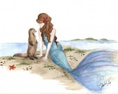 8.5 X 11 Print of Original Watercolor: The Otter and the Mermaid