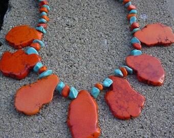 Orange and blue turquoise artisan Necklace