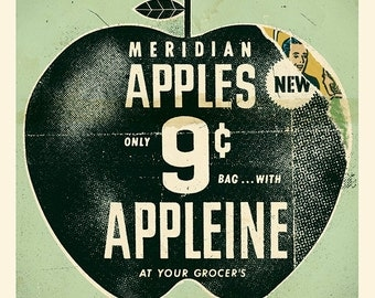 "Vintage Apple Ad / Print 12"" x 12"""
