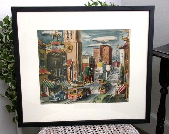 Vintage Art Print San Francisco Street Scene in Black Frame 22 x 19