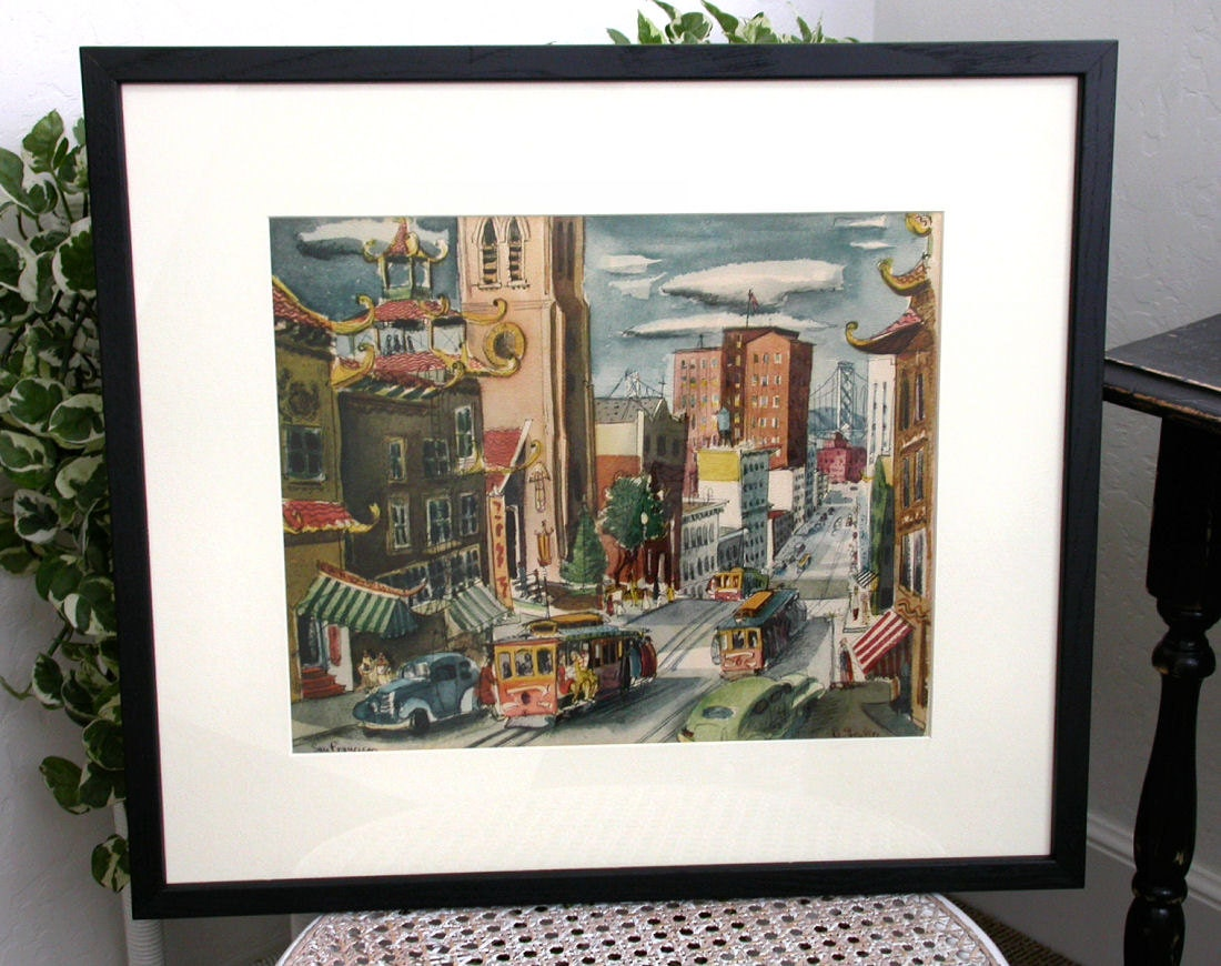 Vintage Art Print San Francisco Street Scene In Black Frame 22