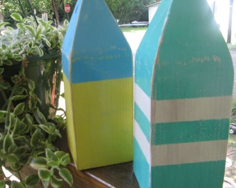 OOAK Reclaimed Wooden Buoy Set of 2 10 inch buoys. Nautical Decor. Beach Decor. Made to order