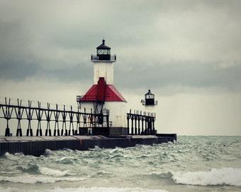 Lighthouse Photograph North Pier Lights St Joseph Michigan light house grey gray red clouds storm pier Lake Michigan