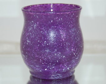 Hand Painted Violet Purple Marbled Glass Candle Holder