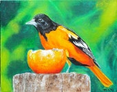 Colorful, lifelike, original oil painting of Baltimore Oriole