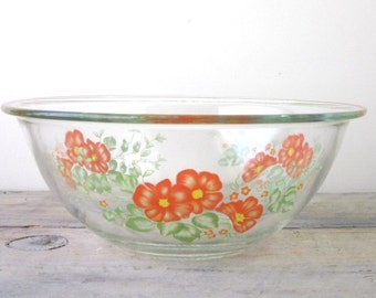 Clear Glass Mixing Bowl with Orange and Yellow Flowers
