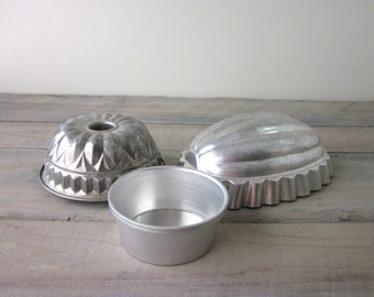 Metal Jello Molds Tins Set of Three Instant Collection