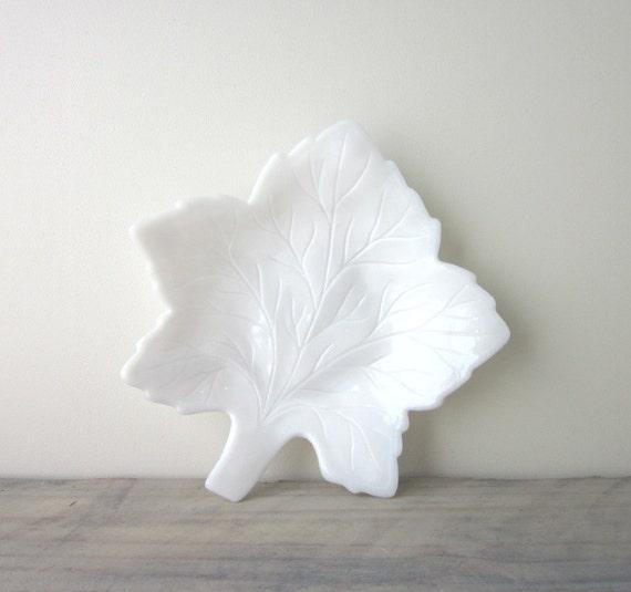 Milk Glass Maple Leaf Bowl Dish