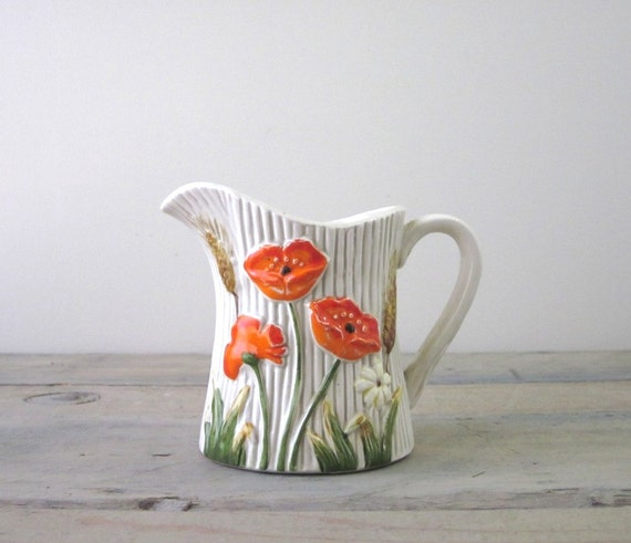 Orange Poppy Flower China Creamer Pitcher Server by Lefton