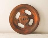Vintage Industrial Wooden Gear Wheel Factory Mold