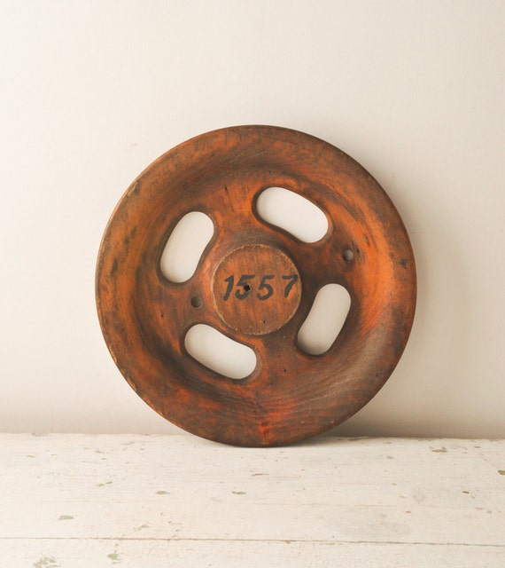 Vintage Industrial Wooden Gear Wheel Factory Mold