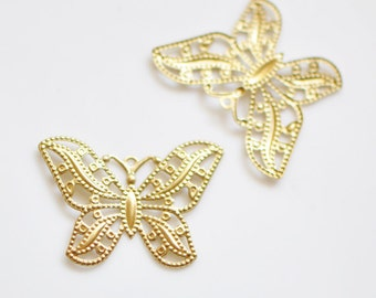 SALE! Raw Brass Butterfly Filigree Stamping Findings 30mm (#10518) / 20Pcs