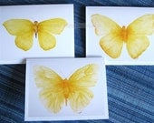 yellow butterfly note blank cards watercolor