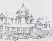 ink drawing beach haven long beach island victorian houses framed sale 10% off