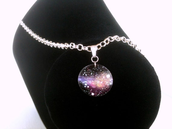 Stargazer Nebula Necklace Handpainted Pendant in Lavender, Melon, and Yellow by Roots and Wings Designs.