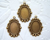 3 -Antique brass 14x10mm cabochon settings - BW99