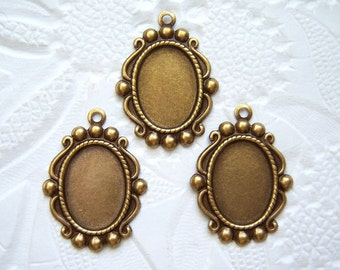 3 -Antiqued brass 14x10mm cabochon settings - BW99