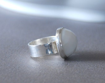 White Ceramic Stone Sterling Silver  Ring