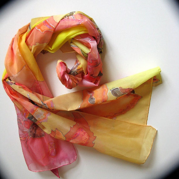Natural Silk scarf  hand dyed- painted on ponge silk - yellow red colors - Fall flowers -  bloom - 45x180