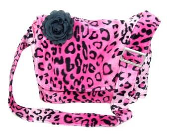 Pink Leopard Nappy Bag/ Diaper Bag/  Laptop Messenger Bag