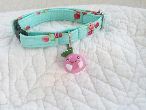 Last Cherry  Bell  Aqua  Colored  Cat  Collar Breakaway Collar with Bell Custom Made