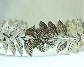 ATHENA Grecian Leaf Headpiece in Silver