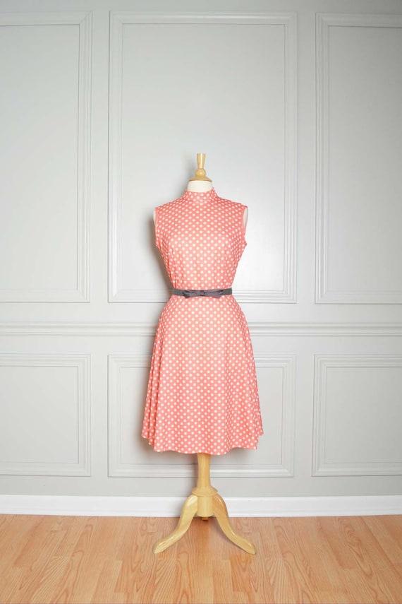Dress Midi 60s Mad Men Polka Dot Salmon Pink Chic Vintage Large L