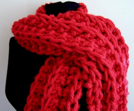 Knit Super Chunky Long Ribbed Scarf, Knit Scarf Red, Scarf for Men, Scarf for Women