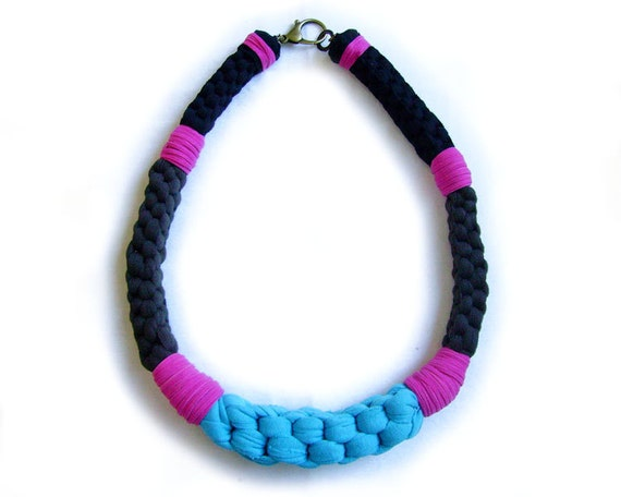 Oversized Knotted Statement Necklace in Black, Pink, Blue, Brown - Woven Cotton Jersey Color Blocking Geometric Necklace