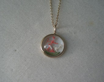 Vintage Little Bo Peep Collectible Goofus Glass and Gold Pendant Necklace