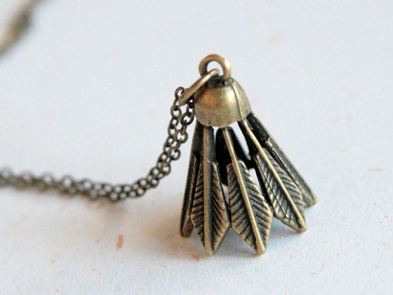 Exercise More - Badminton Necklace (N312) in brass color