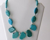 Chunky Turquoise Statement Necklace Blue Necklace Gemstone Necklace Slice Slab necklace Womens Fashion Jewelry