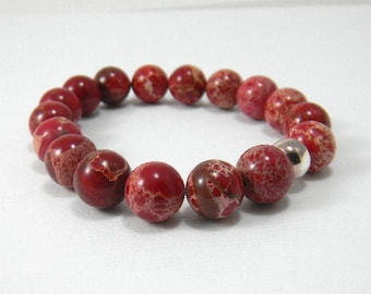 Red Gemstone Bracelet Stacking Bracelet Rustic Red Agate Sterling Silver Gemstone Bracelet