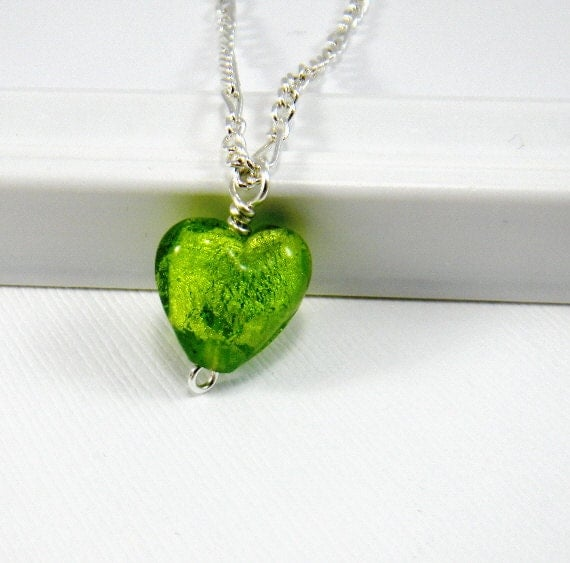 RESERVED FOR TAMMY Green heart necklace Spring green Chartreuse foil lined heart pendant Valentines Day St Patricks Day Apple Green
