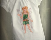 Whimsical Fairy Tee with Wings - Forest Fairy Fawn with Appliqued Irridescent Wings on Back for Girls