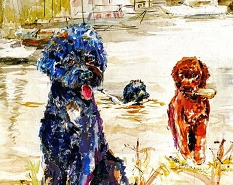 Portuguese Water Dog-Portey-Limited Edition Watercolor Art print  SIGNED by the Artist Carol Ratafia DOUBLE MATTED to  16x20