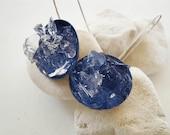 handmade sterling silver earrings sapphire blue enamel crystal quartz stones