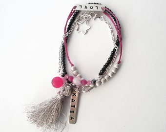 set of 3 sterling silver 925 friendship bracelets beaded fiber chain black fuchsia pink silver beads