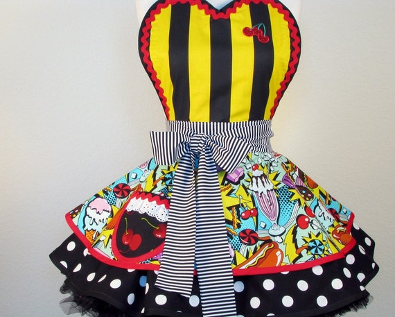 Junk Food Roller Derby Pinup Apron by Dots Diner -- in stock