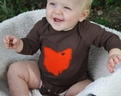 Cleveland Love, State of Ohio BROWN bodysuit with heart on cleveland, great baby shower gift, father's day gift for new dad