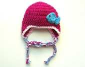 Crochet baby hat with fish. newborn photo prop, baby ear flap hat, crochet ear flap hat, winter, girls hat, boys hat