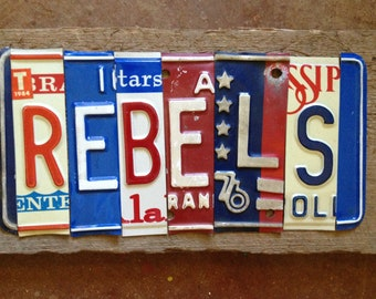 Ole Miss REBELS recycled license plate art sign tomboyART Feed Moncrief Hotty Toddy