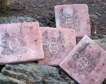 NATURAL STONE COASTERS... Dream.. Believe.. Love.. Set Of Four... Free Shipping